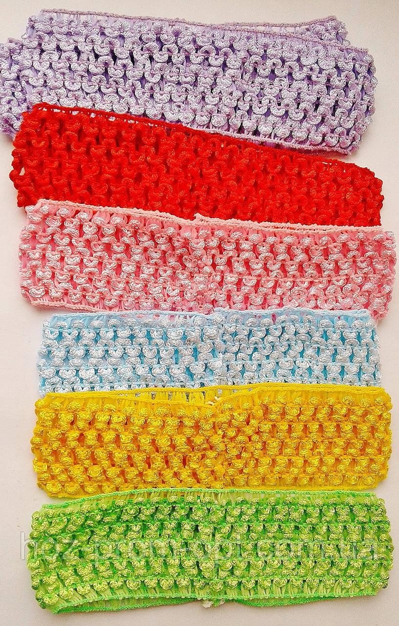 Повязка для волос сеточка цветная.- длина 14,0 см. * ширина 4,0 см.