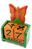 """Календарь настольный """"Бабочка"""" дерево зеленая(15х10х5 см)"""