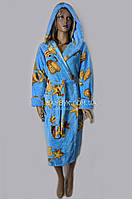 Теплый женский халат из микрофибры (голубой) Polar №4955