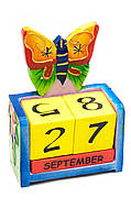 """Календарь настольный """"Бабочка"""" дерево (14,5х10,5х5 см)"""