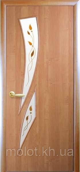 """Межкомнатные двери """" Камея со стеклом сатин и рисунком Р1 """""""