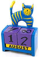 """Календарь настольный """"Кот"""" дерево синий (14,5х10х5,5 см)"""