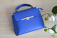 Синяя кожаная сумка из Италии