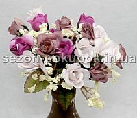 Букет мини розочек (16-17 цветочков) Цвет - белый малина сизый Цена за букет