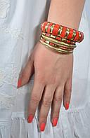 Браслет ручной работы красный (коралловый) с костью