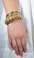 Браслет ручной работы коричневый (темно-бежевы) с костью