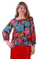 Блуза шифоновая яркая летняя с цветами , Бл 019-5