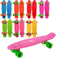 Скейт MS 0848 пенни, 55,5-14,5см, алюм. подвеска, колесаПУ, разобр,микс цветов, в кульке