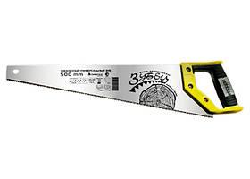 "Ножовка по дереву ""Зубец"", 350 мм, 7-8 TPI, зуб 2D, калёный зуб, 2-х компонентная рукоятка СИБРТЕХ"