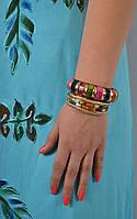 Браслет ручной работы разноцветный с костью