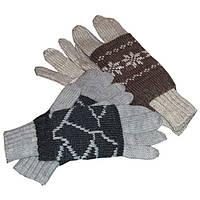 Вязаные дизайнерские перчатки с митенками, c норвежскими орнаментами для нее и для него