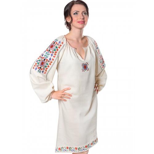 Льняное вышитое платье Яворивское кремовое