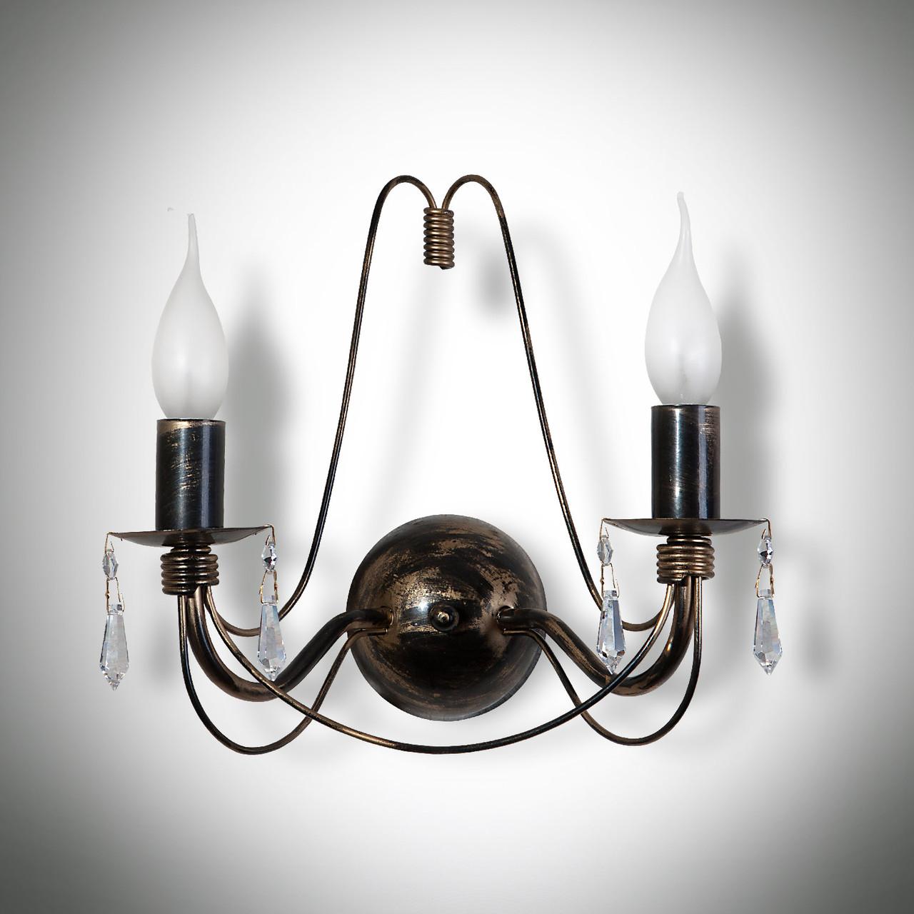 Бра 2-х ламповое c хрустальными подвесками 19730-1