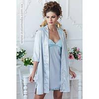 1006 Ночная рубашка и халат из шелка Malta ТМ Komilfo (Серебро)