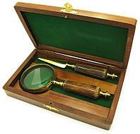 Лупа с костяной ручкой и ножом для конвертов в деревянном футляре
