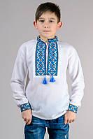 Вышиванка детская для мальчика Тарасик (голубой орнамент)