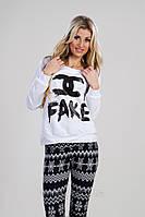 "А1051 Батник женский ""Fake"" Белый"