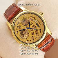 Яркие мужские наручные часы Omega Brown/Gold/Light-Gold Blue Narrows