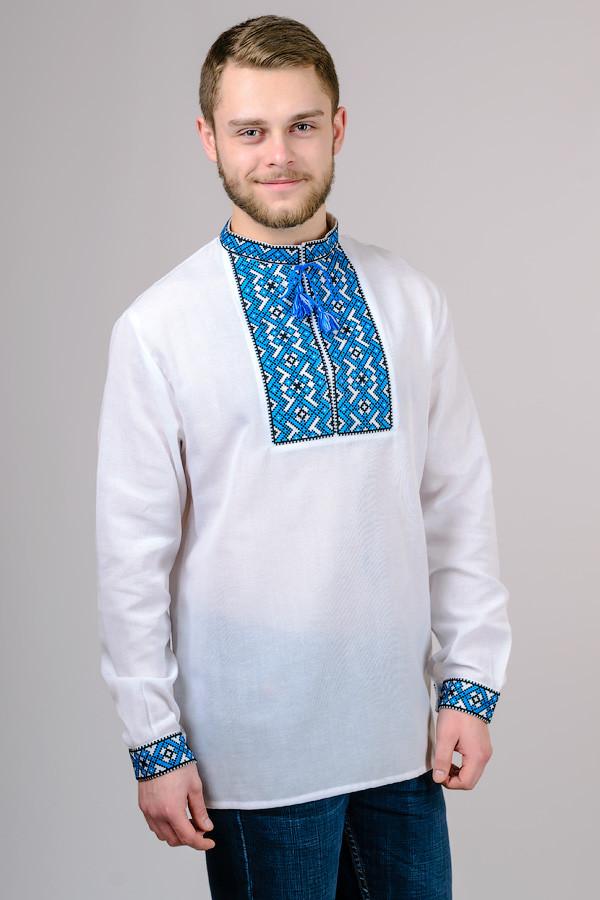 Сорочка-вышиванка мужская Тарас (синий орнамент)