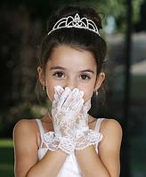 Короткие нарядные кружевные перчатки  (2 цвета)