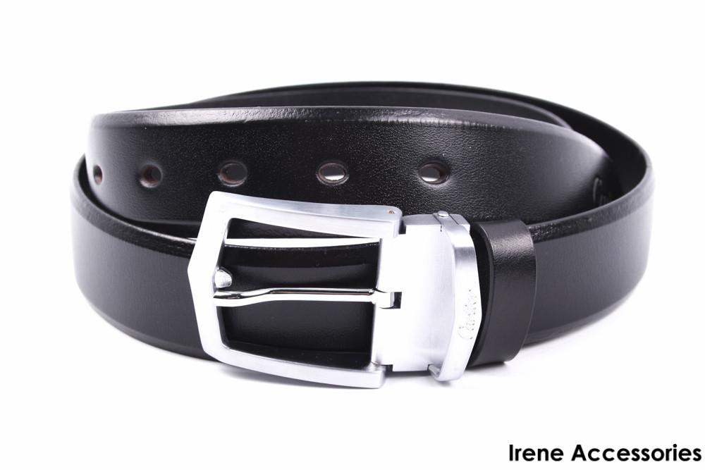 Стильный мужской ремень Cartier цвет черный, натуральная кожа (длина 115 см, ширина 3,5 см)