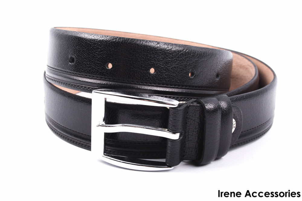Ремень мужской классический YSK цвет черный, натуральная кожа (длина 115 см, ширина 3,5 см)