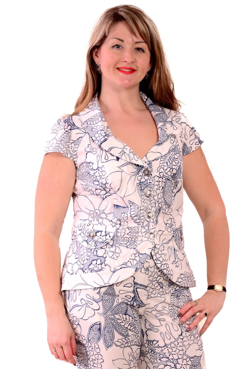 Короткий пиджак приталенный, голубой , джиновый жакет. 46-54, Жк 002-5.