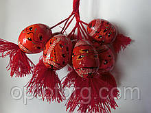Яйца деревянные пысанка большие на веревке