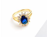 """Кольцо Swarovski """"Принцесса"""" синий сапфир в желтом золоте, фото 1"""