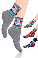 Женские хлопковые носки в полоску steven