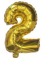 """Шар цифра """"2"""" фольгированный золотой, высота 35 см"""