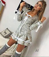 Женское платье ангора на завязках серое