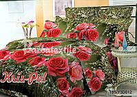 """Двуспальный комплект постельного белья  """"Красные розы""""."""