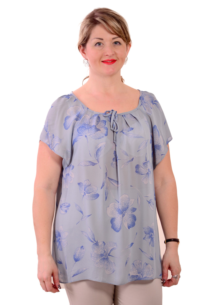 Блузка голубая из крепдешина  Бл 007-1 цвет 4
