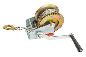 Лебедка ручная барабанная тяговое усилие 450 кг. стальной трос 10 метров HTools (97K001)