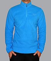 Однотонная мужская толстовка голубого цвета хорошего качества