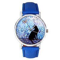 Модные оригинальные женские часы Black cat ,синие