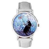 Модные оригинальные женские часы Black cat , белые