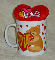 Кружка на день Св. Валентина 300 мл с мягкой игрушкой