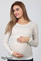Облегающий лонгслив для беременных NR-17.011, бежево-белая полоска, фото 1