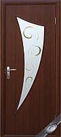 """Межкомнатные двери """" Парус со стеклом сатин и рисунком Р3 """""""