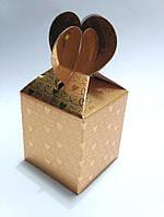 """Подарочная коробочка """"Сердечки"""" золотая"""