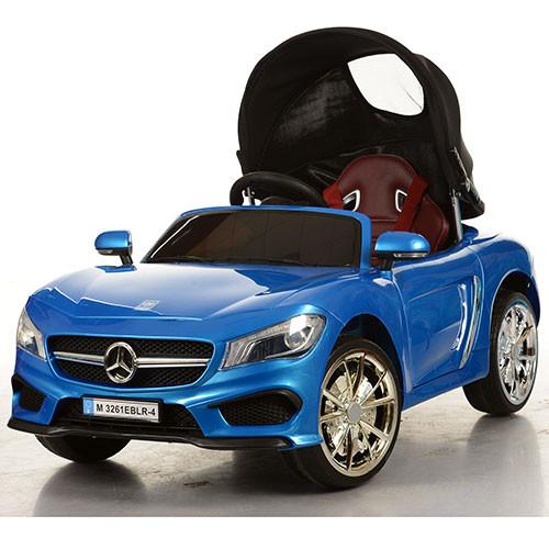 Детский электромобиль Mercedes M 3261 EBLR-4: 2.4G, 70W, EVA, кожа, крыша - Cиний- купить оптом