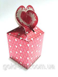 """Подарочная коробочка """"Сердечки"""" красная"""