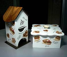Короб - конфетница с чайным домиком чашка с паром.
