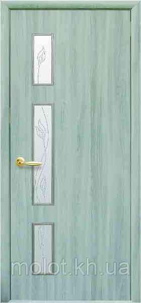"""Межкомнатные двери """" Герда со стеклом сатин и рисунком Р2 """""""
