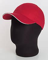 Бейсболка без логотипа красная с белым кантом, коттон Sahara