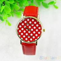 Нежные оригинальные женские часы Peas, красные