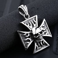 """Кулон мужской """"Мальтийский крест с черепом"""", сталь 316L"""