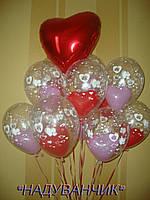 Подвійні гелієві кульки з серцем 10шт